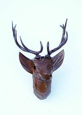 Stags head, handcarved for the ( Medium size ) hunter style cuckoo clocks.