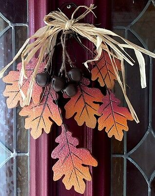 Thanksgiving Autumn Falling Leaves Wreath Wall Plaque Harvest Floral Door Swag
