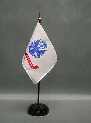"""LOT OF 12 US Army 4""""x6"""" Miniature Military Desk/Table Flags With Flag Stands"""