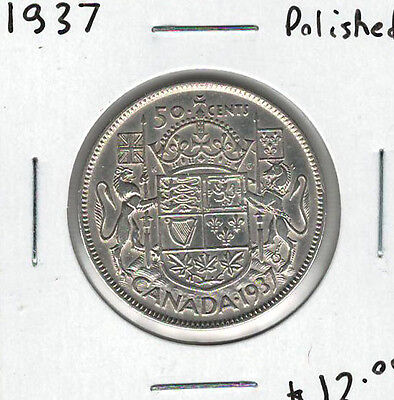Canada 1937 Silver 50 Cents Polished