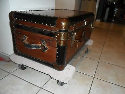"Beautiful Antique Steamer Trunk Marked ""usa Excelsior Stamford Co"""