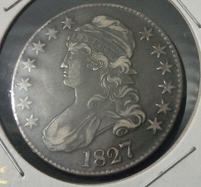 """1827 CAPPED BUST LETTERED EDGE HALF DOLLAR; SQUARE BASE """"2"""" variety; Great coin!"""