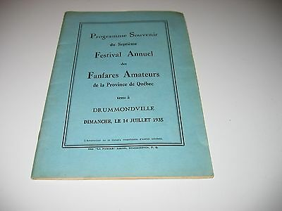 Programme Fanfares Quebec 1935, Biere Molson Beer Message By The President, Dow