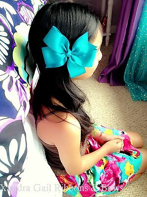 "10-6"" Large Hair Bows Boutique Girls Baby Toddler Grosgrain Ribbon Alligatorclip"