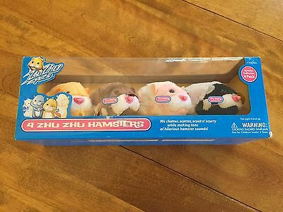 Set of 4 Zhu Zhu Hamsters Pets Brand New Sealed in the Box  Very Nice!!!