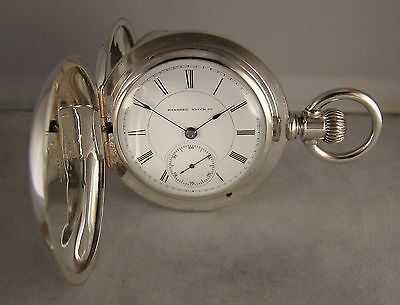 133 YEARS OLD HAMPDEN 11j SOLID COIN SILVER HUNTER CASE SIZE 18s POCKET WATCH