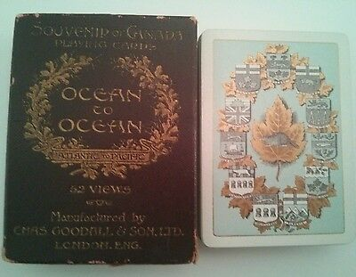 c.1905 Souvenir Playing Cards Canada Ocean to Ocean 52 View Gilt 11 Province