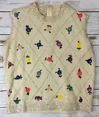 Vintage 60s Cyn Les Womens M/L Ivory Wool Blend Sequin Floral Sleeveless Sweater