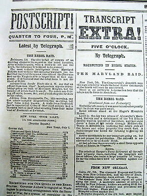 1864 Civil War newspaper Confederate GENERAL JUBAL EARLY raid on WASHINGTON DC