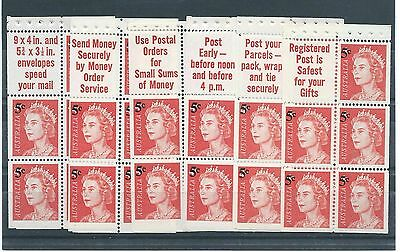 1967 QEII 5c on 4c booklet panes set of six different tabs MUH ST40