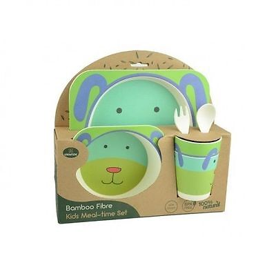 Kids Meal Set Feeding Time Baby Dish Plate Cup Cutlery BPA Free Bamboo Fibre