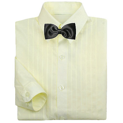 Baby Boy Formal Party Tuxedo Suit Ivory Button Down Shirt  Black Bow tie  0-7