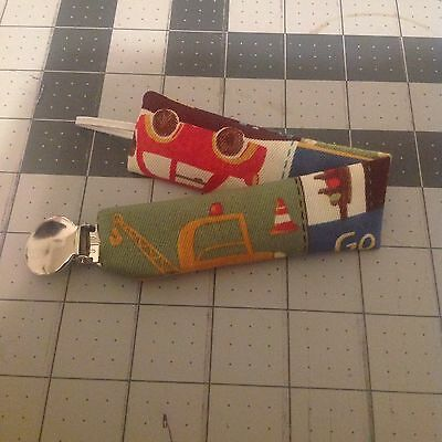 Baby Boy Girl Pacifier Clip Leash Holder Ribbon Cars Trucks Jeeps Scooters Beep