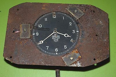VINTAGE SMITHS BLACK FACE CAR CLOCK with WINDER and SURROUND PLATE.