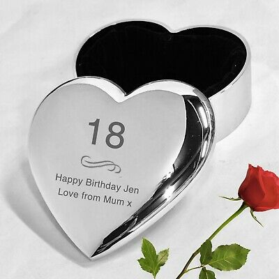 Personalised Heart Trinket Box Gifts For Her Birthday 16th 18th 21st 30th 40th