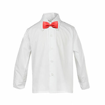 Baby Boy Kid Formal Event Tuxedo Suit White Button Down Shirt  RED Bow tie Sm-4T