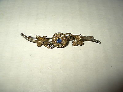 Vintage Victorian Gold Filled Pearl & Blue Crystal Bar Brooch Pin - C Clasp