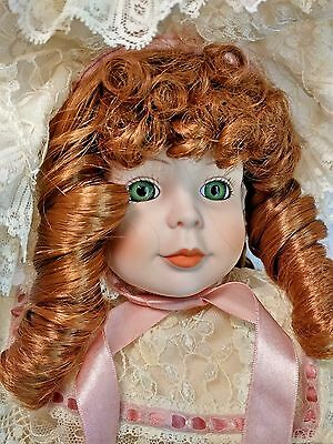 """Dynasty French Lace Claudia 17"""" Porcelain Doll Lace Auburn Red Hair Green Eyes"""