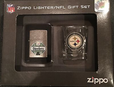 Steelers zippo lighter and shot glass
