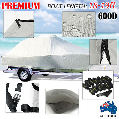 18FT-19FT (5.5M-5.8M) Heavy Duty Trailerable Jumbo Boat Cover With Zipper Design