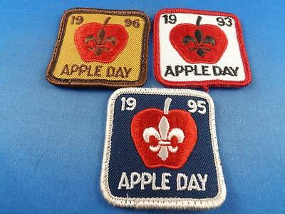 Boy Scouts Apple Day 1993 1995 1996 Patch Collector Badge Lot Of 3