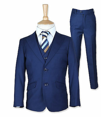 Boys Italian 3 Pc French Blue Page Boy Suit Wedding Dinner Prom Suits