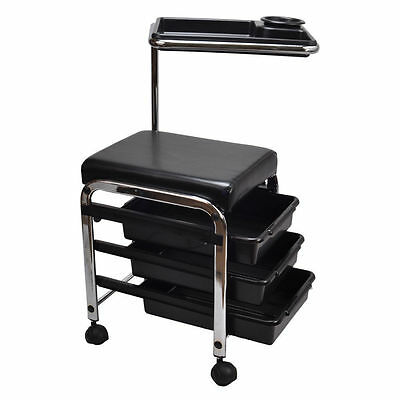 Black Portable Pedicure Stool Chair Seat With Trays Hairdressing Feet Foot Rest