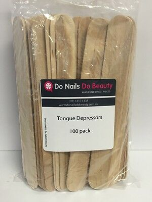 100 x Disposable Wooden Sticks Spatulas Waxing Tongue Depressors Bulk buy