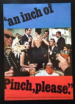 1967 Pinch by Haig & Haig Scotch Whisky Salvador Dali at party vintage print ad