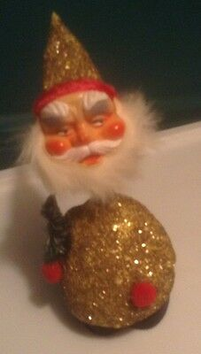 Vintage W Germany Santa Claus Candy Container Bobble Head Fur Beard Feather Tree