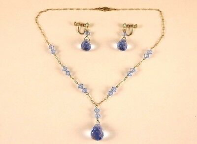 Victorian Sterling Silver Blue Austrian Crystal Necklace Earrings set