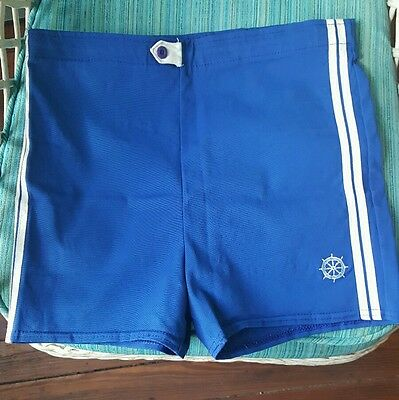 Vtg Mens Blue Swim Trunks Shorts Oshmans Nautical Striped Swimsuit Union Made