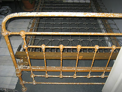 Antique 1930's Iron Bed Frame Complete With Springs