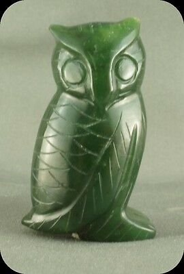 Vintage Green Stone Owl Figurine Not Signed