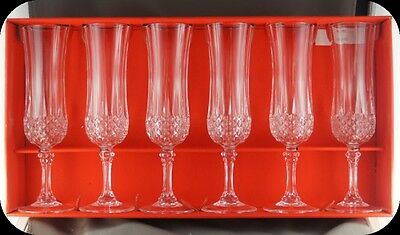 Box of 6 Cristal D'Arques Lead Crystal Longchamp Champagne Flutes  Glasses 8""