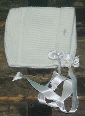 Vintage Knit Baby Bonnet White, Ribbon ties, Small Infant
