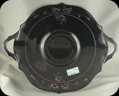 "Black Depression Glass 9 1/2"" Handled Cake Plate Silver Overlay"
