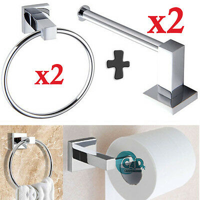 2x Chrome Square Bathroom Toilet Tissue Roll Holder and Towel Rings Set Fittings