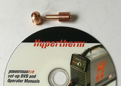Plasma electrode with nozzle In Set for Hypertherm Powermax, 45 Ampere