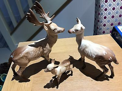 Beswick Deer Family - Stag Doe Fawn-complete set of 3 all MINT