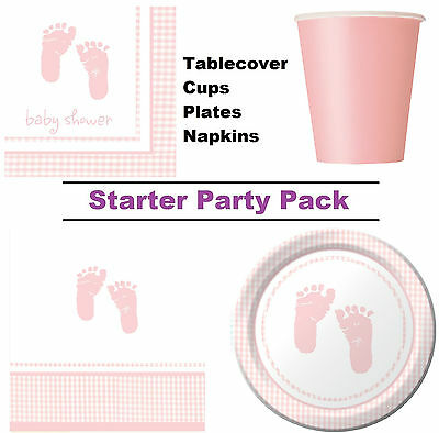 Girls Pink Baby Shower 8-48 Guest Starter Party Pack - Cups | Plates | Napkins
