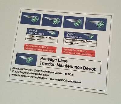 OO Gauge Direct Rail Services (DRS) Depot Signs Set – Your Choice of Name