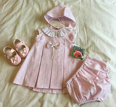 Summer Traditional Spanish Baby Ferr 3 piece pink outfit with bonnet, 6M only!