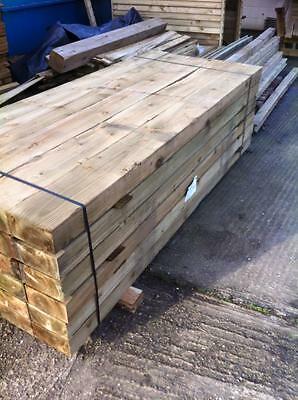 new railway sleepers 8ft long 200x100 green pressure treated fencing paving