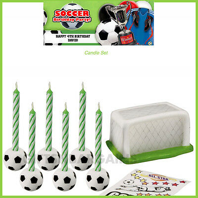 Soccer Birthday Party Supplies WILTON Soccer Decal Candle Set Boys Cake Topper