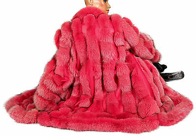 XL 2XL Pelz Ledermantel Fuchs PINK Fuchsfell Pelzmantel fox fur leather coat