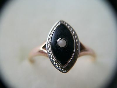 Estate Find 14k Gold Onyx & Seed Pearl Ring Size 5.25