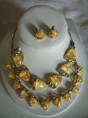Signed Coro Gold Confetti Lucite 3 Piece Jewelry Set Necklace,Bracelet  Earrings