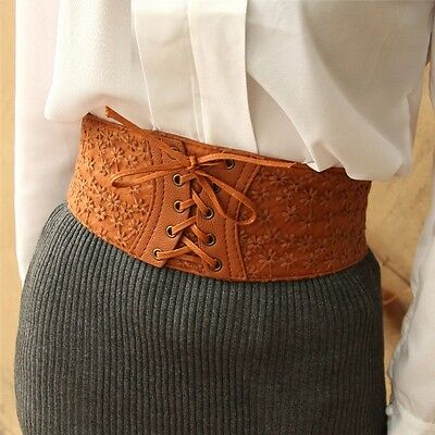 Women Lace Flower Elastic Stretch Wide Belt Waistband Corset Buckle Cinch Girdle