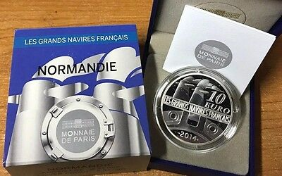 France 2014 NORMANDIE 10 euro Silver Proof - Francia argent Normandy € silber